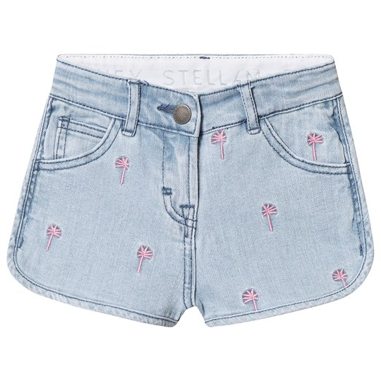 Stella McCartney Kids Blue Embroidered Palms Denim Shorts 4161 - Embro Pink Palm Deni
