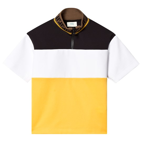Fendi Black, White and Yellow Branded Tee F0RX2