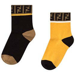Fendi Two-Pack Black and Yellow Branded Socks