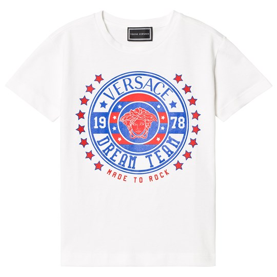 Versace Футболка White and Blue Medusa Branded Tee Y4635