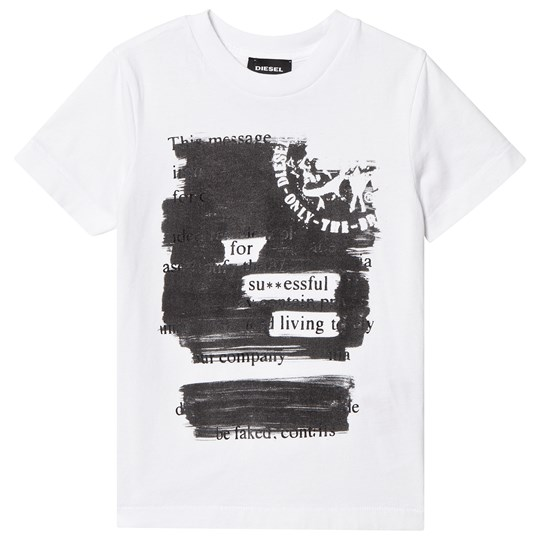 Diesel White Mohican and Text Print Tee K100