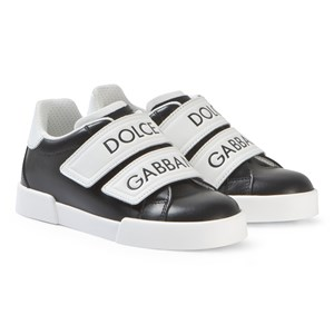 Image of Dolce & Gabbana Black and White Label Strap Sneakers 27 (UK 9) (3125320285)