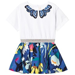 Catimini Blue and White Floral Swing Dress