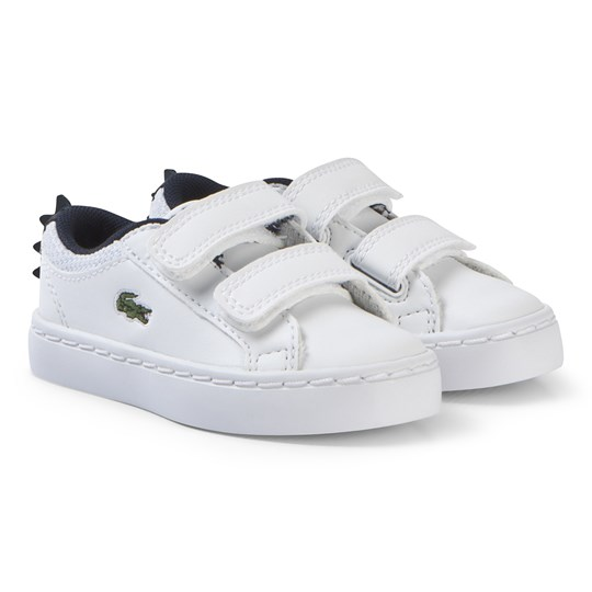 Lacoste White with Navy Crocodile Spine Straightset 119 Velcro Shoes WHT/NVY