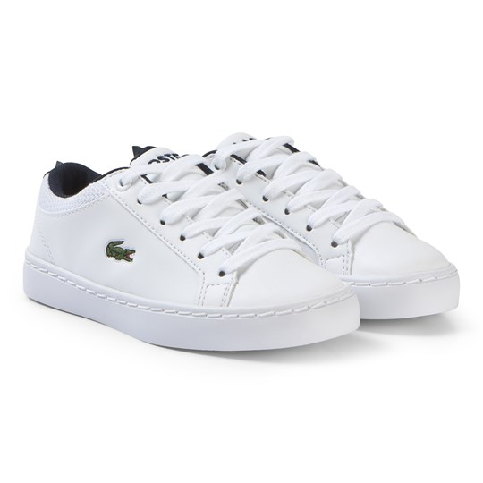 Lacoste White with Navy Crocodile Spine Straightset 119 Shoes WHT/NVY