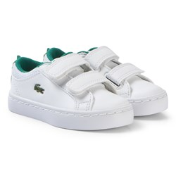 Lacoste White with Green Crocodile Spine Straightset 119 Velcro Shoes