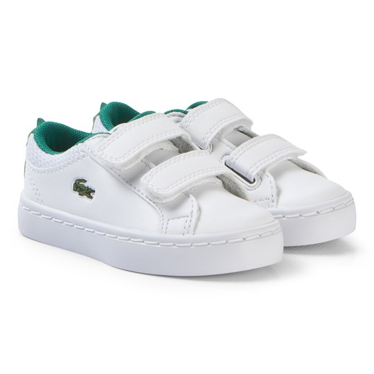 Lacoste White with Green Crocodile Spine Straightset 119 Velcro Shoes WHT/GRN