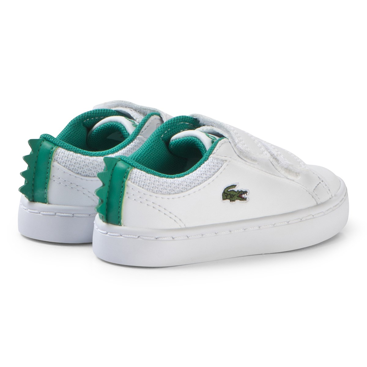 67af528c1b21 Lacoste - White with Green Crocodile Spine Straightset 119 Velcro Shoes -  Babyshop.com