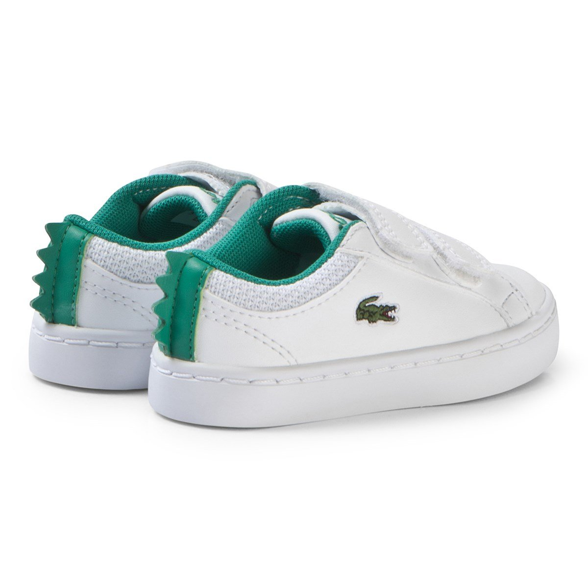 63f5e0032 Lacoste - White with Green Crocodile Spine Straightset 119 Velcro Shoes -  Babyshop.com