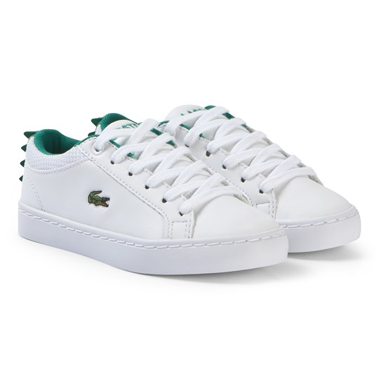 Lacoste White with Green Crocodile Spine Straightset 119 Shoes WHT/GRN
