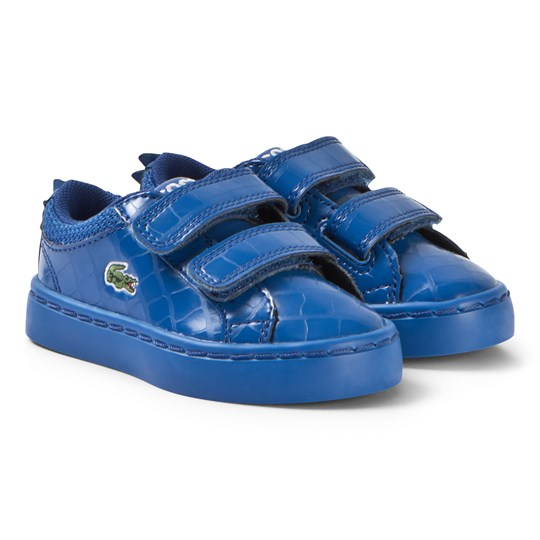 Lacoste Blue Glossy Crocodile Patterned Straightset 119 Velcro Shoes BLU/BLU