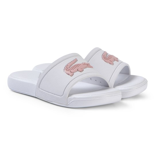 Lacoste White and Pink L.30 Slide 119 Sliders WHT/LT PNK