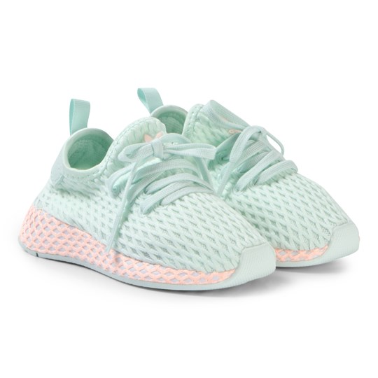 adidas Originals Mint and Pink Sole Deerupt Runner Infants Trainers ice mint/ftwr white/clear orange