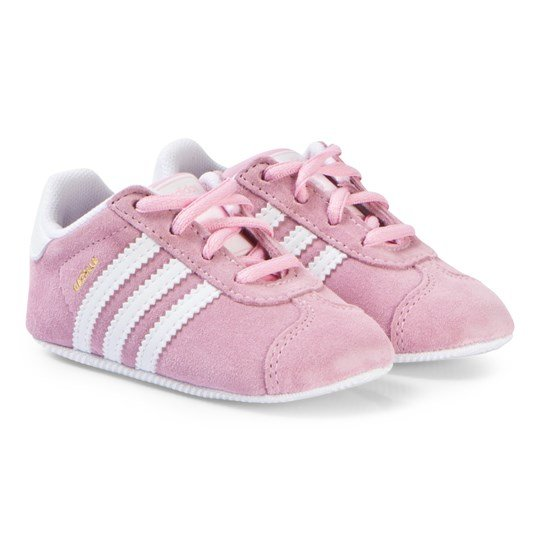 adidas Originals Pink and White Gazelle Crib Trainers true pink/ftwr white/gold met.