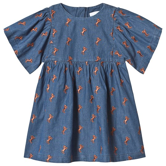 Chloé Blue Denim Dress with Horse Embroidery 364