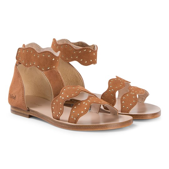 Chloé Tan Leather Scalloped Sandals 152