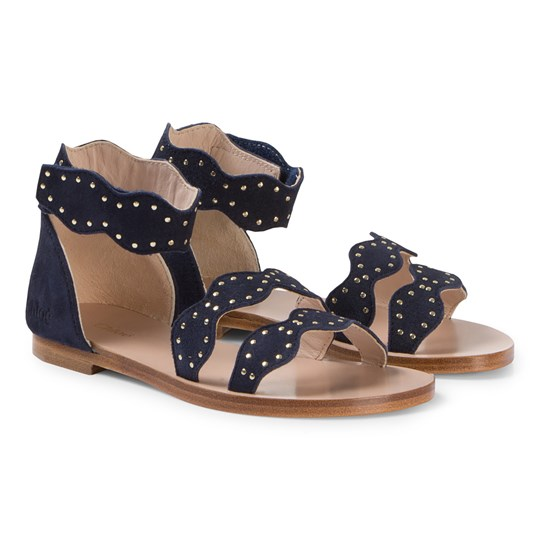 Chloé Navy Leather Scalloped Sandals 849