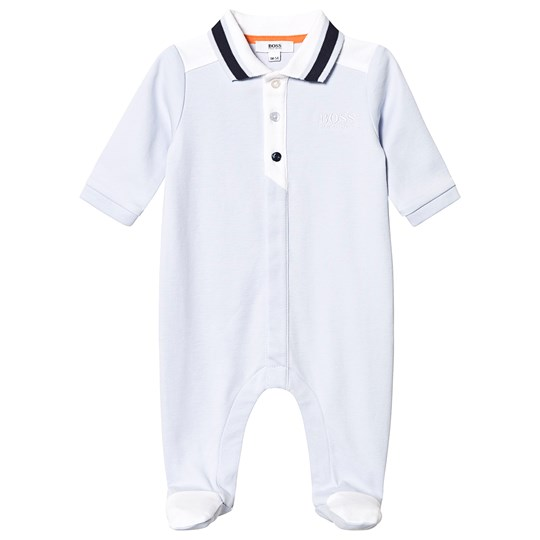 BOSS Pale Blue Branded Polo Footed Baby Body 771
