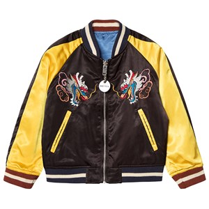 Image of Diesel Black and Yellow Satin Embroidered Bomber Jacket 10 years (3125251437)