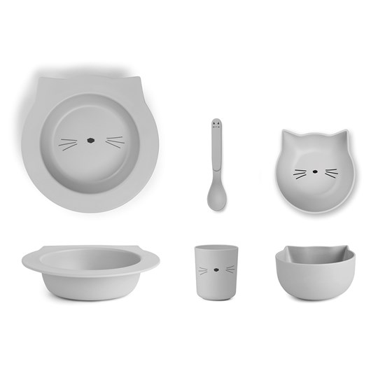 Liewood Barbara Bamboo Tableware Set Cat/Dumbo Grey Dumbo grey