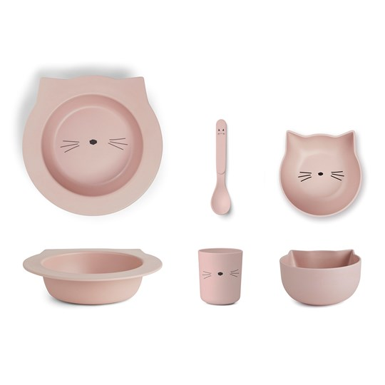 Liewood Barbara Bamboo Tableware Set Cat/Rose Multi