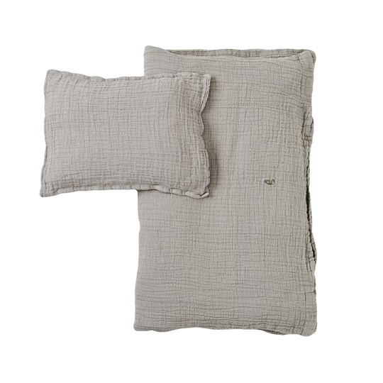 garbo&friends Thyme Muslin Junior Bed Set Gray/ Green