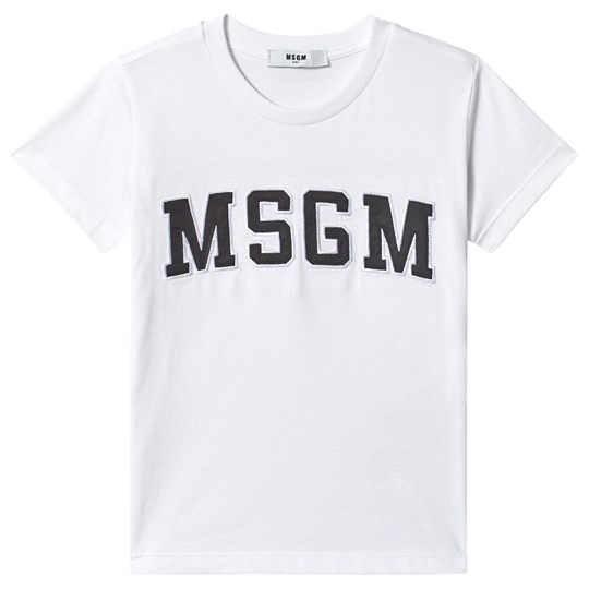 MSGM Футболка White with Green MSGM Logo Tee 001