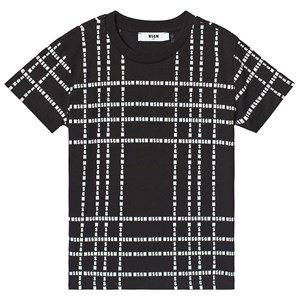 Image of MSGM Black with White All Over MSGM Logo Tee 12 years (3125255129)