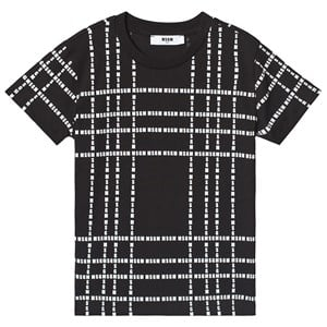 Image of MSGM Black with White All Over MSGM Logo Tee 6 years (3125254847)