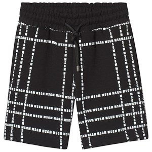 Image of MSGM Black with White All Over MSGM Logo Sweat Shorts 4 years (3125255143)