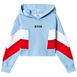 MSGM Pale Blue Red and White Contrast Cropped Hoodie