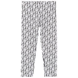 Image of MSGM Black with White All Over MSGM Logo Leggings 12 years (3125256671)