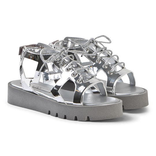 Stella McCartney Kids Silver Lasercut Star Sandals 1166 - Storm Grey