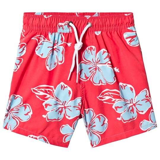 Snapper Rock Red Board Shorts with Blue Flowers Pink Stripe