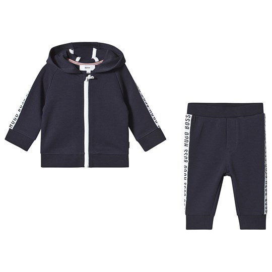 BOSS Navy Logo Trim Hooded Tracksuit 849