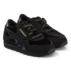 Reebok Black and Gold Classic Nylon Infant Sneakers