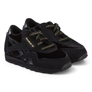 Image of Reebok Black and Gold Classic Nylon Infant Sneakers 35 (UK 3.5) (3125327123)