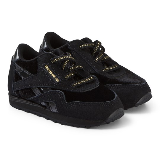 Reebok Black and Gold Classic Nylon Infant Sneakers VELVET-BLACK/GOLD