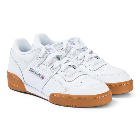 Reebok White and Royal-Gum Workout Plus Junior Sneakers WHITE/CARBON