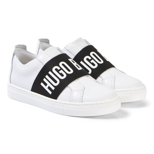 BOSS White Leather Branded Slip On Sneakers 10B