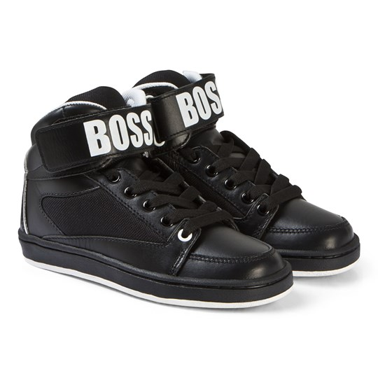 BOSS Black Branded Leather Hi Top Sneakers 09B
