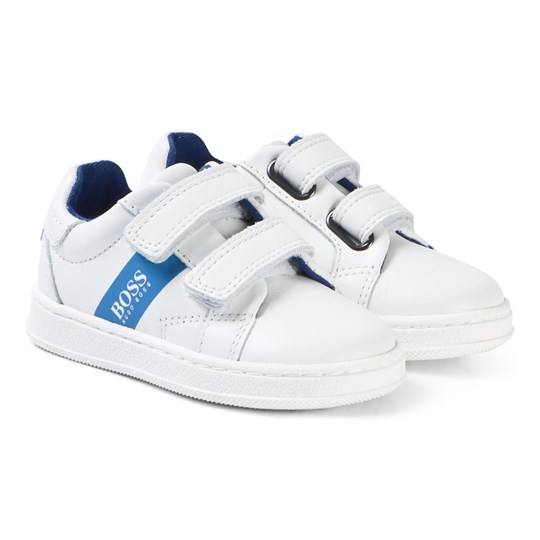 BOSS White Leather Branded Velcro Sneakers 10B