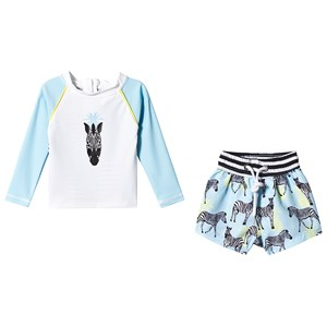 Image of Snapper Rock Blue Zebra Shorts and Top Baby Set 12-18 months (3139021559)