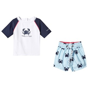 Image of Snapper Rock Blue Crab Shorts and Top Baby Set 12-18 months (3139021565)