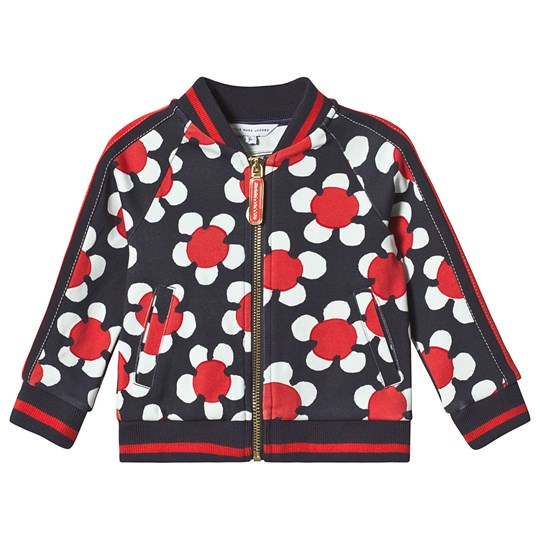 Little Marc Jacobs Navy and Red Daisy Allover Print Sweat Bomber Jacket A43