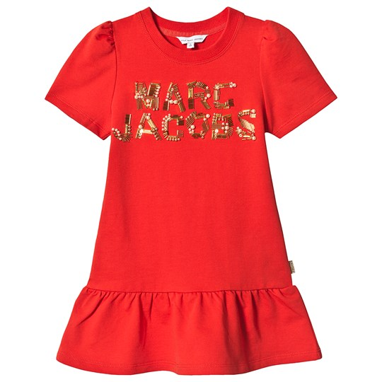 086cf9ac Little Marc Jacobs - Red and Gold Embroidered Logo Dress - Babyshop.no