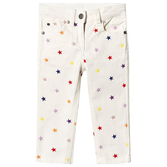 Stella McCartney Kids White Multicolour Star All Over Print Jeans 9094 - Embr Multicol Stars