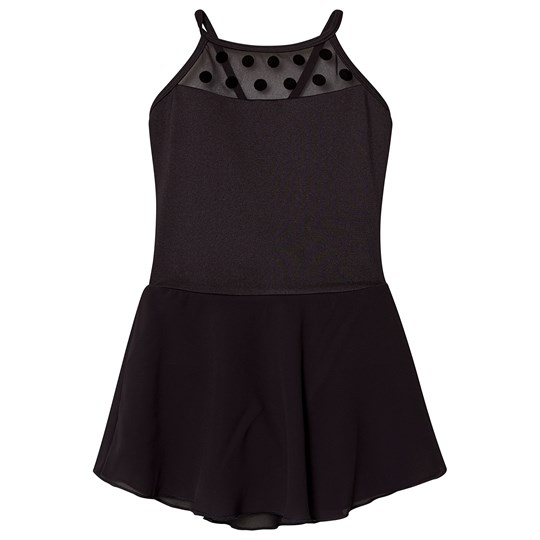 Mirella Black Polka Dot Mesh Skirted Camisole Leotard BLK