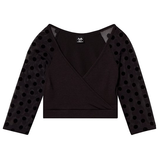 Mirella Black Polka Dot Mesh Sleeve 3/4 Wrap Top BLK