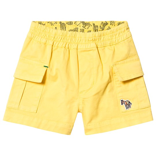 Paul Smith Junior Yellow Cotton Cargo Shorts with Zebra Logo and Elasticated Waistband 724